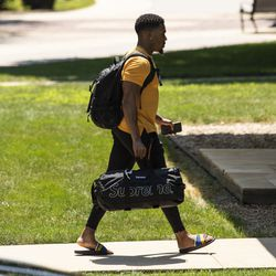 Chicago Bears' wide receiver Marvin Hall #13 arrives for training camp at Olivet Nazarene University in Bourbonnais, Thursday afternoon, July 25, 2019.