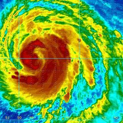 A false color satellite image provided by the National Oceanic and Atmospheric Administration shows Hurricane Bill at 12:15 a.m. EDT Aug. 18, 2009 in the Atlantic Ocean.