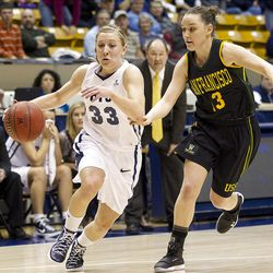 Haley Steed rushes to the basket in BYU's game against the San Francisco Dons, in the Marriott Center  February 16, 2012