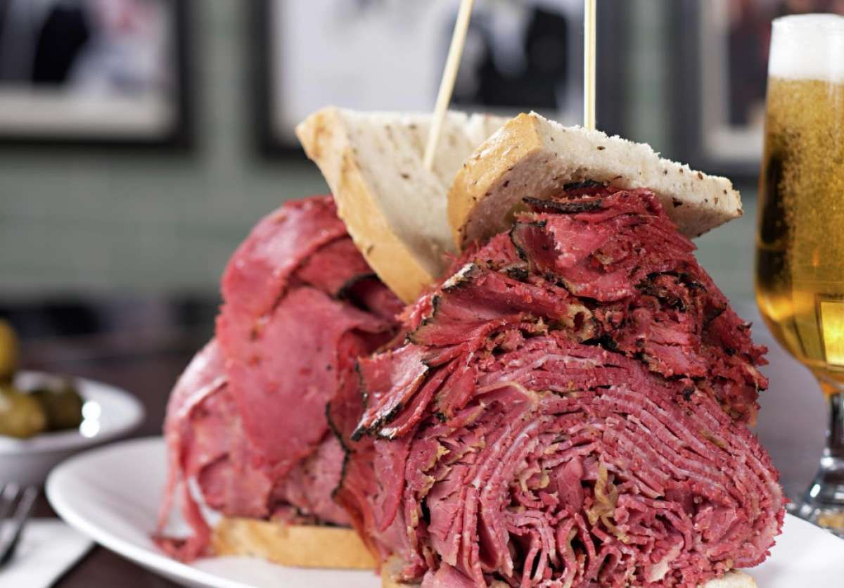 Pastrami sandwich and beer