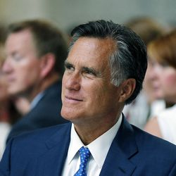 Mitt Romney listens at the Capitol in Salt Lake City, Wednesday, Sept. 2, 2015, during the official launch of the Kem C. Gardner Policy Institute.