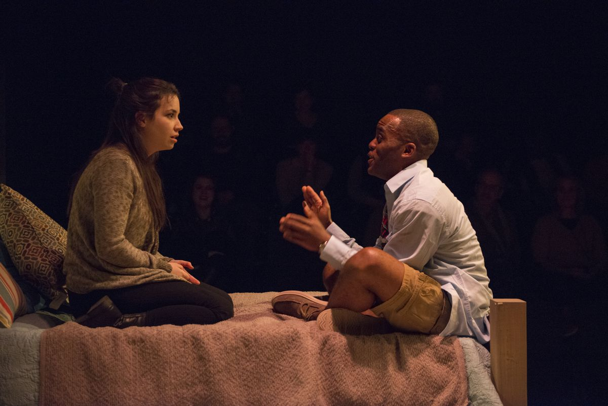 """Hayley Burgess and Travis Turner in """"The Mystery of Love & Sex"""" at Writers Theatre. 
