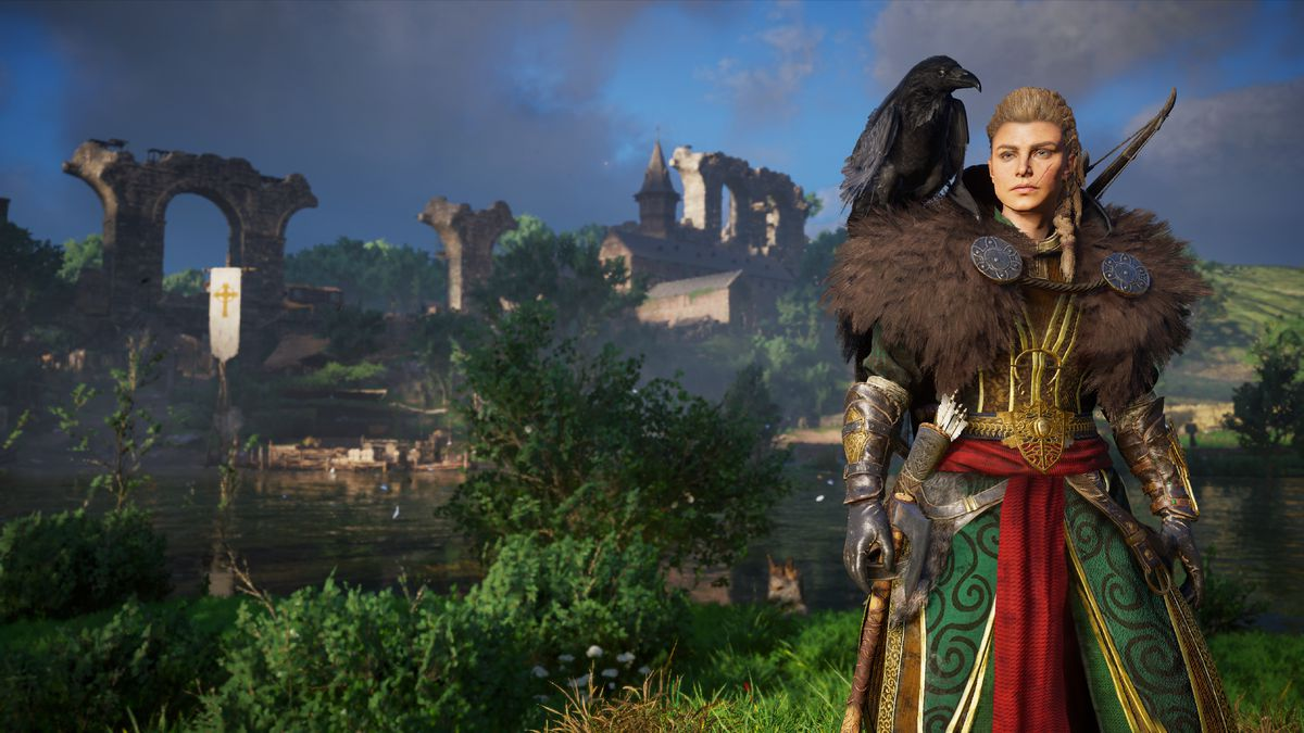 Female Eivor standing with a raven on her shoulder