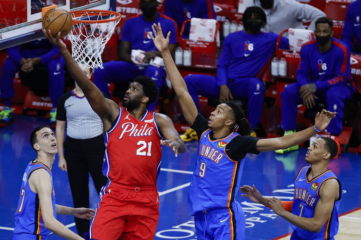 Joel Embiid #21 of the Philadelphia 76ers shoots a layup during the first quarter against the Oklahoma City Thunder at Wells Fargo Center on April 26, 2021 in Philadelphia, Pennsylvania.