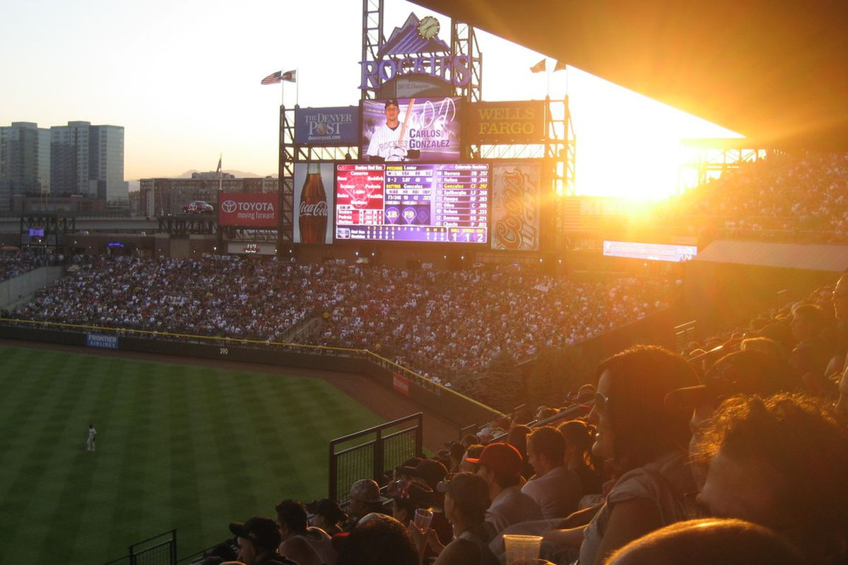 Coors Field at sunset, but it was still hot in that stadium.