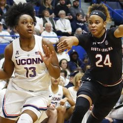 The South Carolina Gamecocks take on the UConn Huskies in a women's college basketball game at the XL Center in Hartford, CT on February 11, 2019.