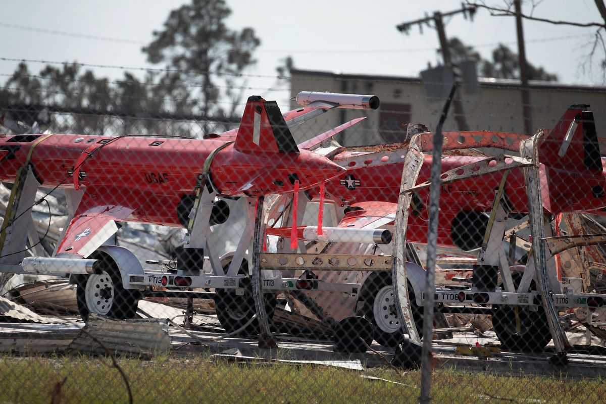 Debris covers drone aircraft on Tyndall Air Force Base following Hurricane Michael on October 17, 2018 in Panama City, Florida.