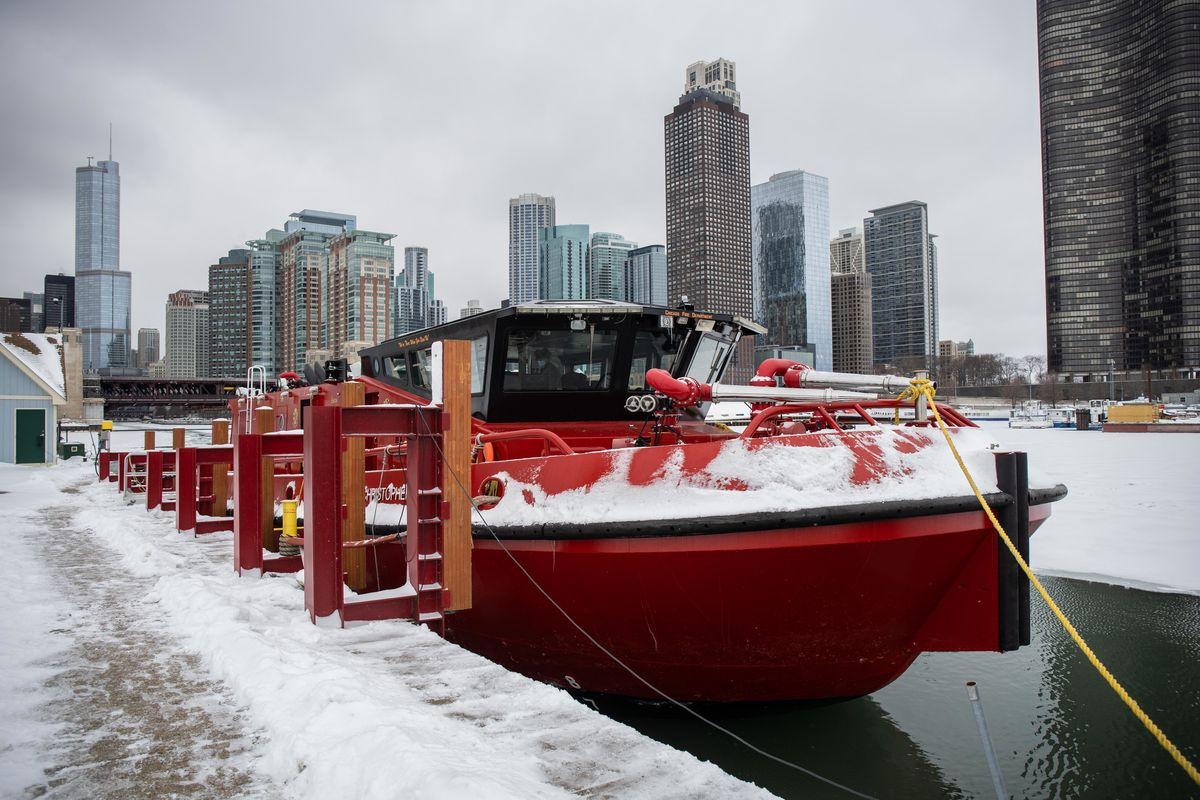 """The Chicago Fire Department's """"Christopher Wheatley"""" is docked Thursday near the Chicago Marine Safety Station at 250 N. Breakwater Access before it breaks ice on the Chicago River."""
