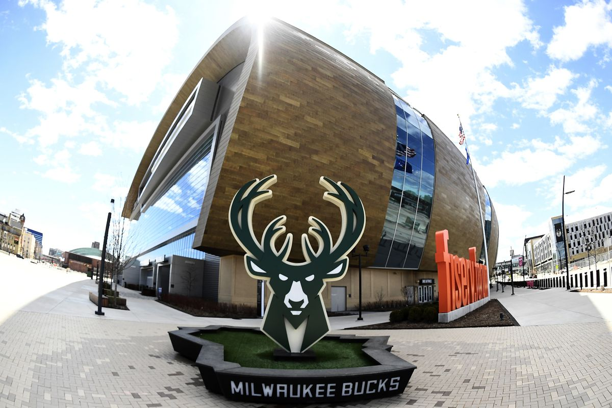 A general view of the exterior of the Fiserv Forum, home of the Milwaukee Bucks, on April 30, 2020 in Milwaukee, Wisconsin.