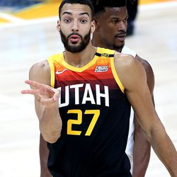 Utah Jazz center Rudy Gobert (27) gestures during the game as the Utah Jazz and the Miami Heat play an NBA basketball game at Vivint Smart Home Arena in Salt Lake City on Saturday, Feb. 13, 2021.