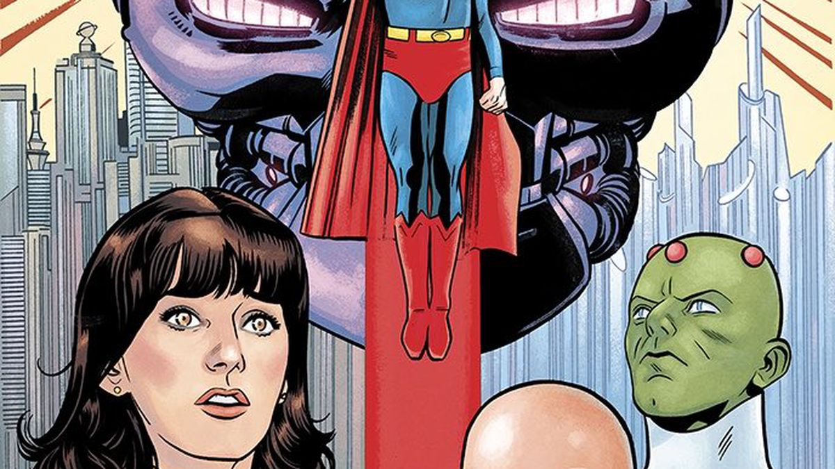 Superman soars over an image of Braniac's skull-shaped robo-ship, with drawings of Margot Kidder as Lois Lane, Gene Hackman as Lex Luthor, and Braniac.