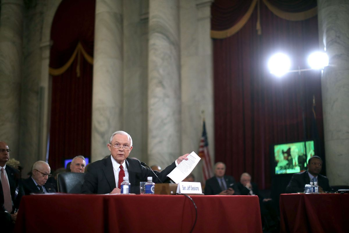 Alabama Sen. Jeff Sessions, President-elect Donald Trump's nominee for attorney general, testifies in Senate hearings.