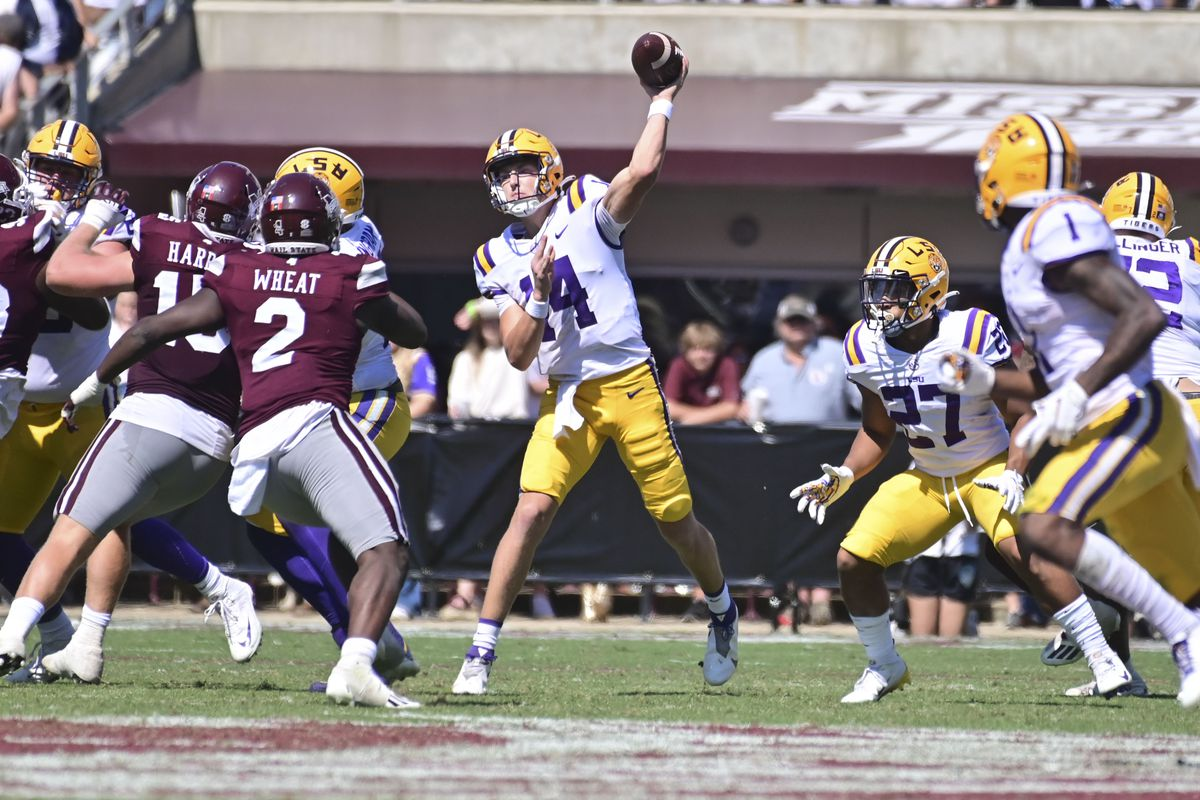 LSU Tigers quarterback Max Johnson (14) makes a pass against the Mississippi State Bulldogs during the fourth quarter at Davis Wade Stadium at Scott Field.