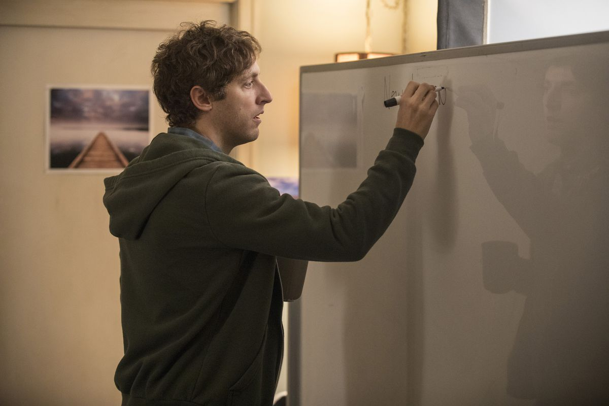 """A character from the HBO show """"Silicon Valley"""" writes on a whiteboard."""