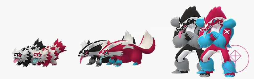Shiny Galarian Zigzagoon, Linoone, and Obstagoon with its normal version. The Shiny versions are bright pink and sky blue, rather than black and white.