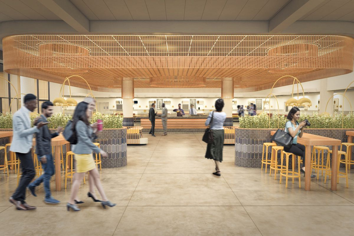 Rendering of the inside of Politan Row in Midtown Atlanta, people walking through dining area with people seated and eating