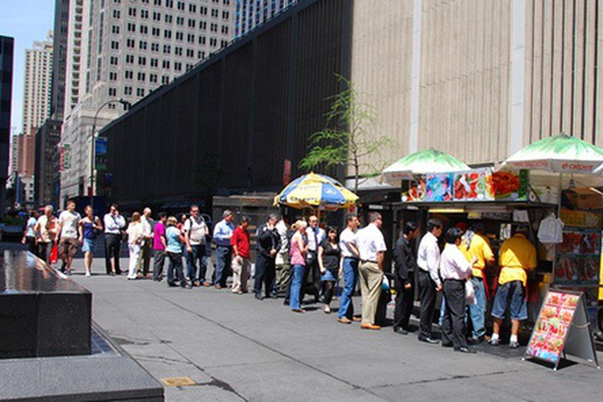 Line Outside Street Cart on SW Corner of 53rd