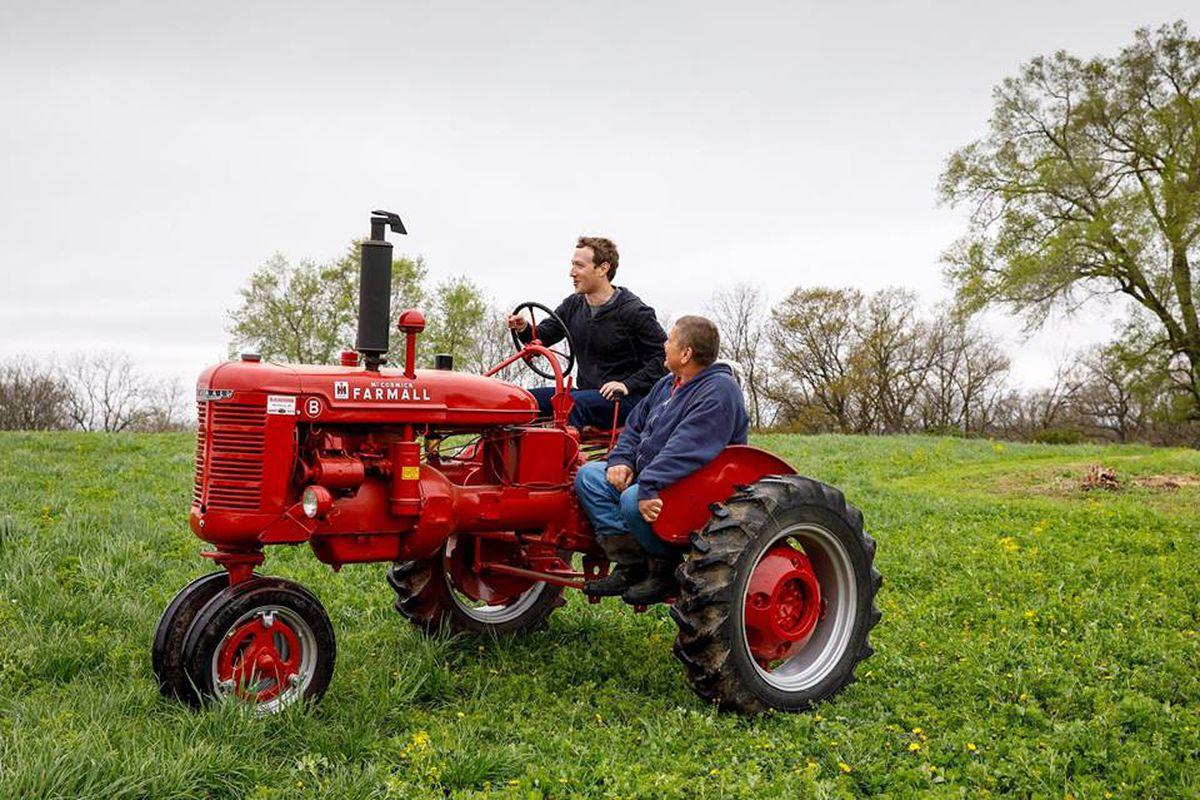 Facebook CEO Mark Zuckerberg driving a tractor