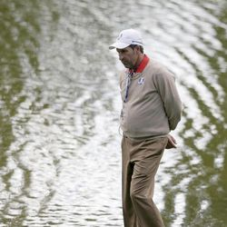 European team captain Jose Maria Olazabal is seen on the 12th hole during a practice round at the Ryder Cup PGA golf tournament Thursday, Sept. 27, 2012, at the Medinah Country Club in Medinah, Ill.