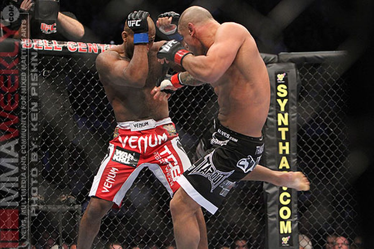 """Thiago Alves laid it into John Howard at UFC 124. What's next for Alves and the rest of the UFC 124 main card winners following their victories? Photo by Ken Pishna/<a href=""""http://mmaweekly.com"""" target=""""new"""">MMAWeekly.com</a>"""
