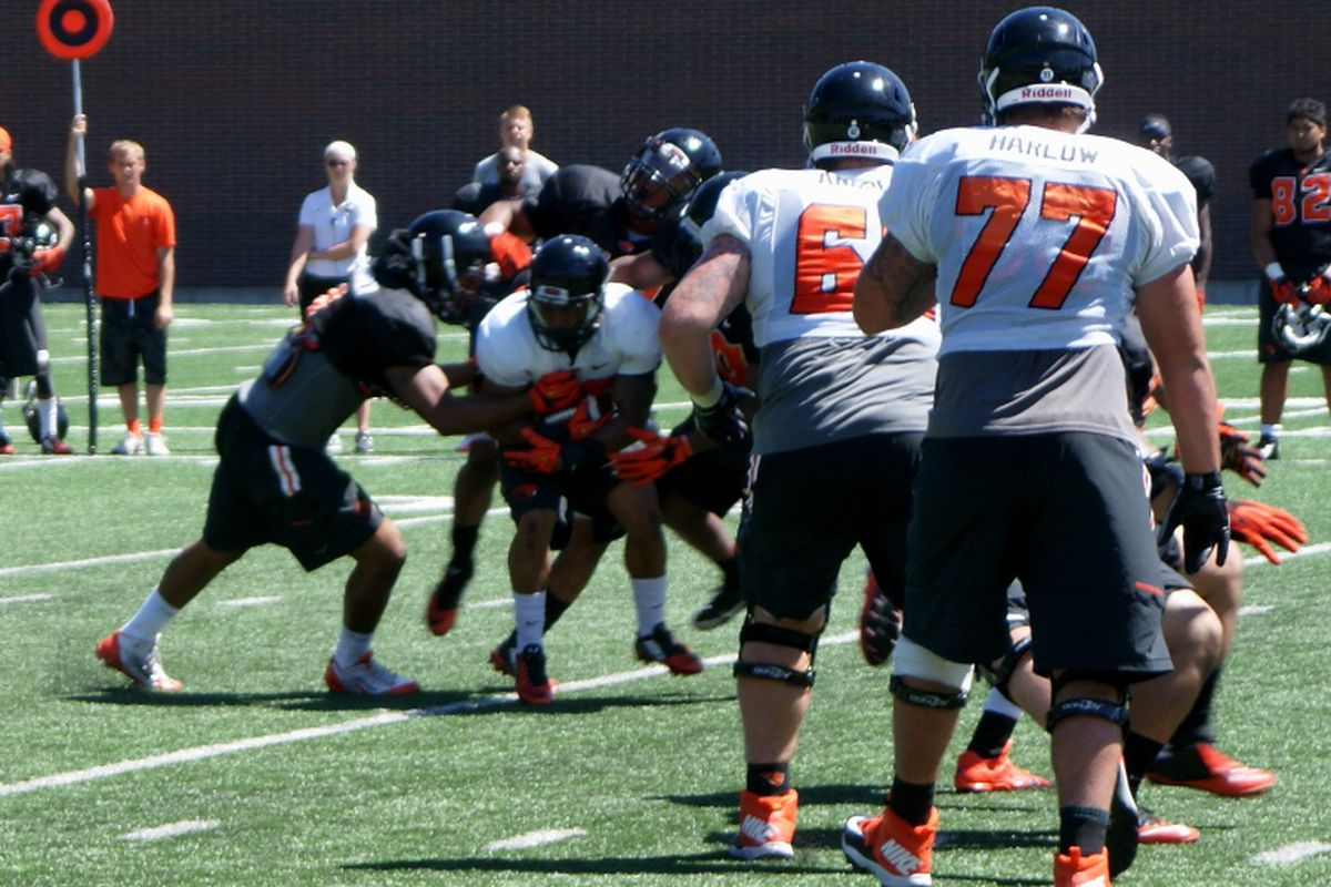 The Oregon St. defense was quick to close down most plays in today's practice.