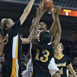 Alexyz Vaioletama shoots in the middle of the lane.