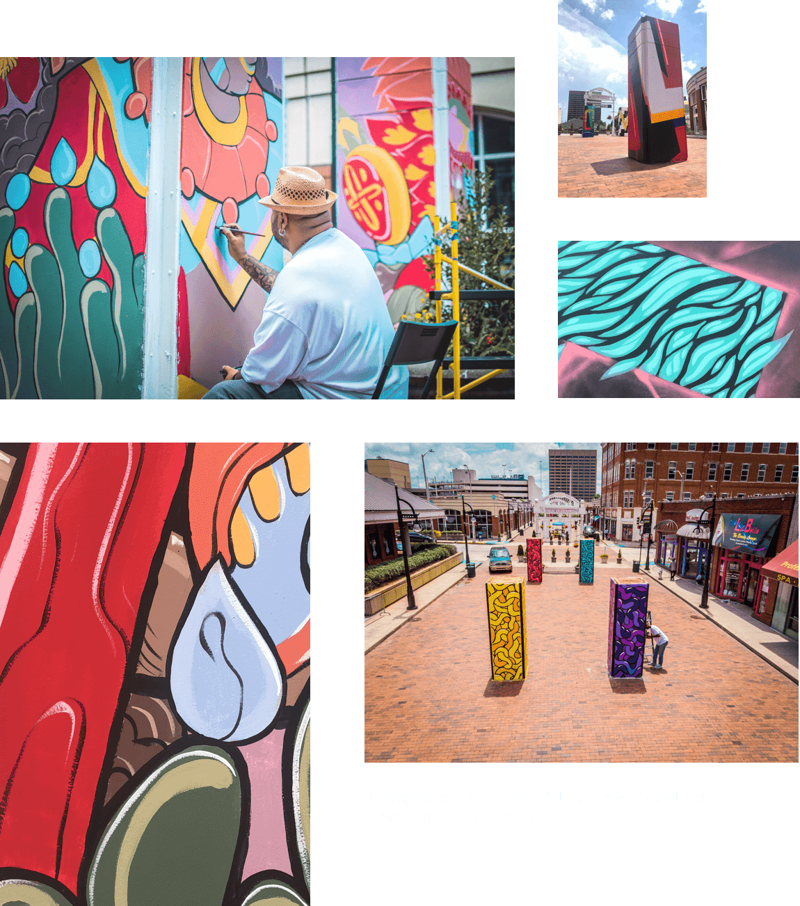 a collage of images depicting the new street art