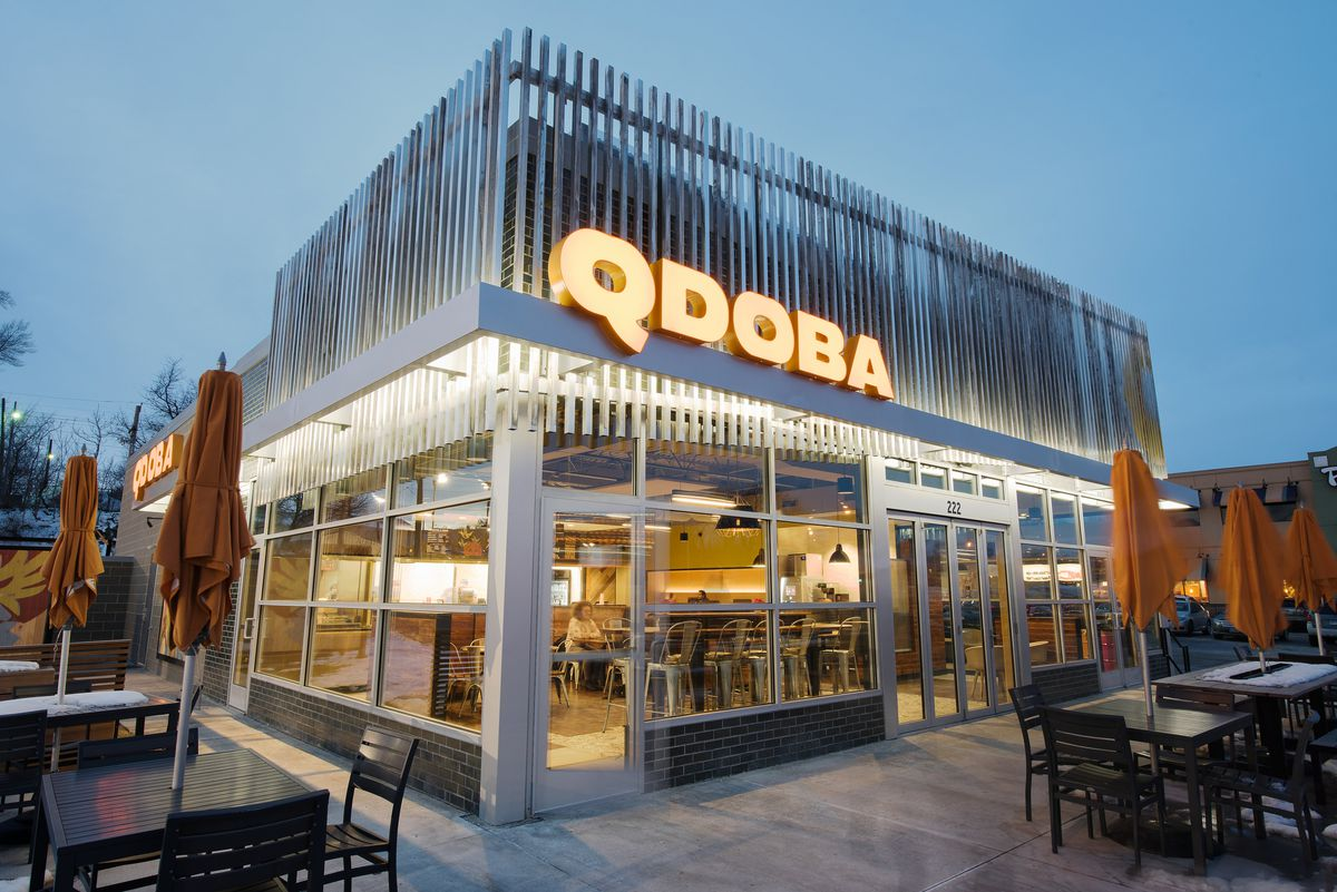 A newly redesigned Qdoba restaurant exterior in Omaha