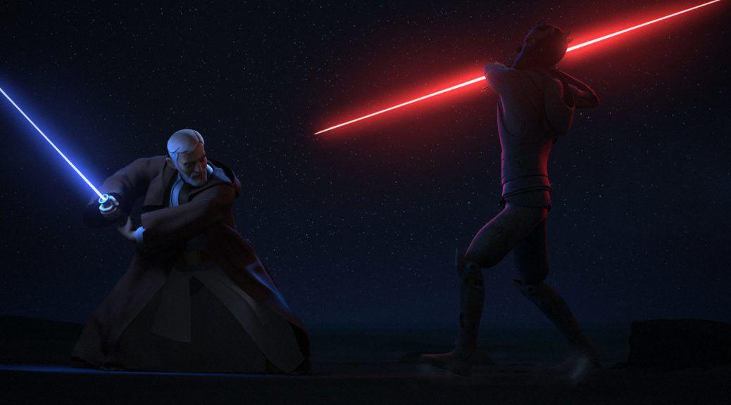 darth maul vs obi wan lightsaber duel star wars rebels