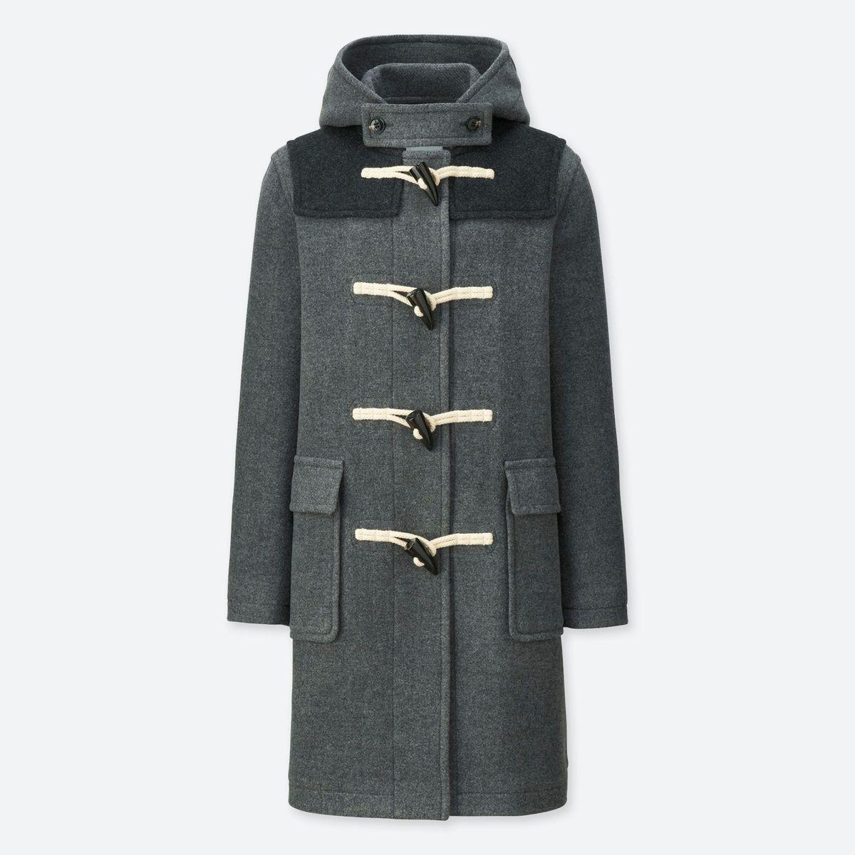 A gray duffle coat