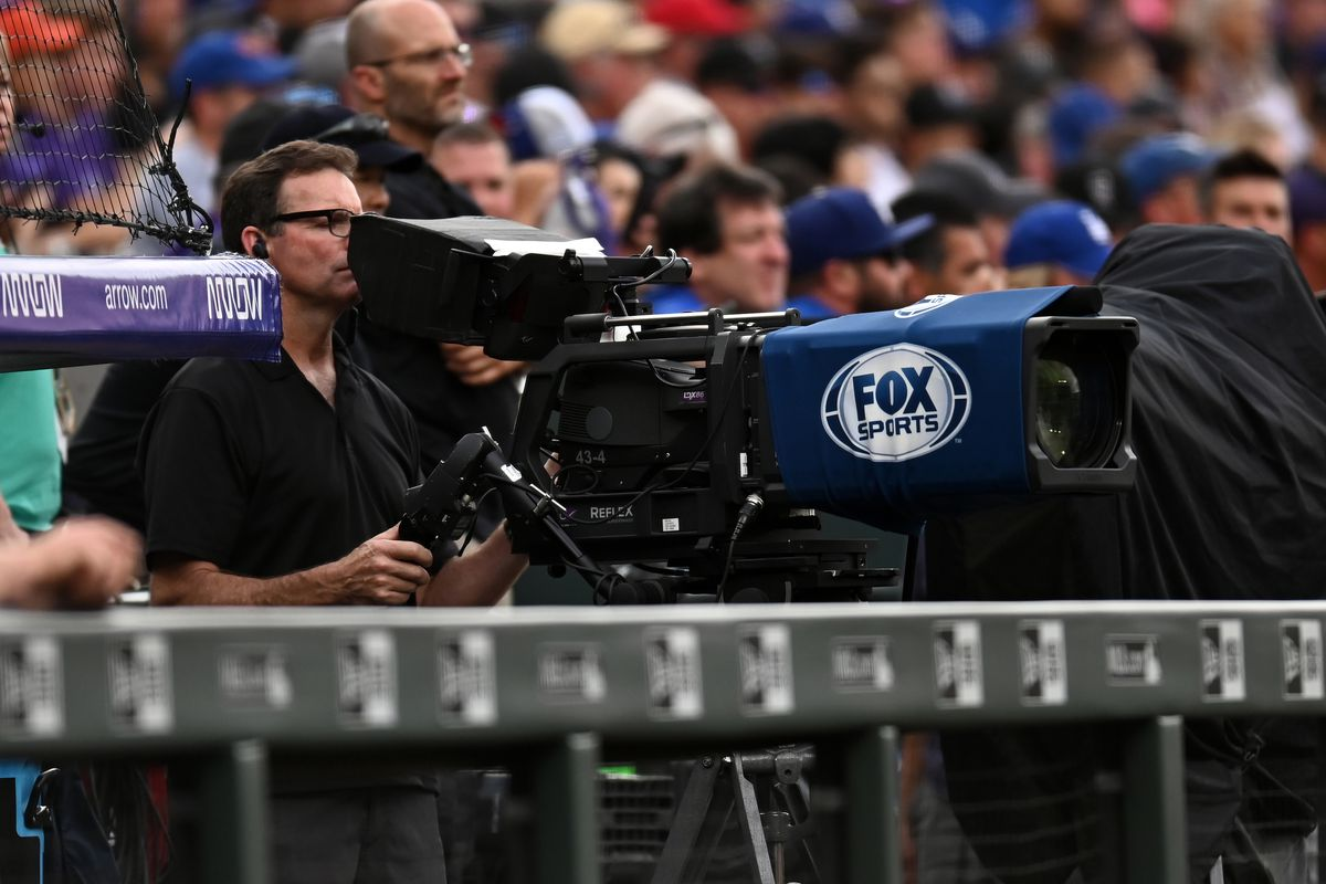 General view of a Fox Sports broadcast video camera before the game between the Los Angeles Dodgers against the Colorado Rockies at Coors Field.