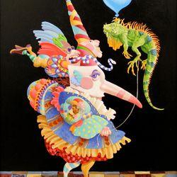 """Party Iguana,"" by James C. Christensen, acrylic, Woodbury Art Museum."