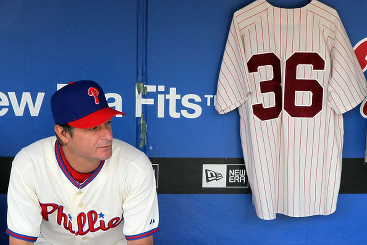Jamie Moyer sits by the jersey of Phillies Hall of Famer Robin Roberts, who passed away Thursday at the age of 83. (Photo by Jim McIsaac/Getty Images)