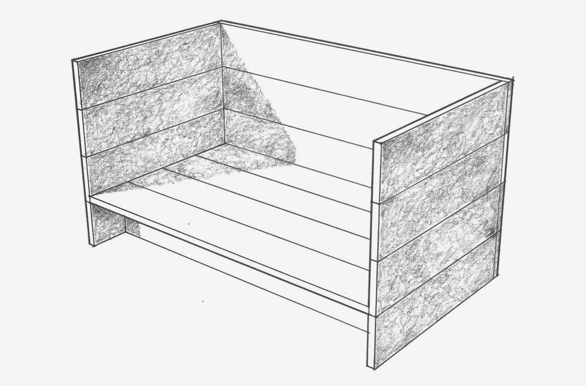 Black and white drawing of a daybed.