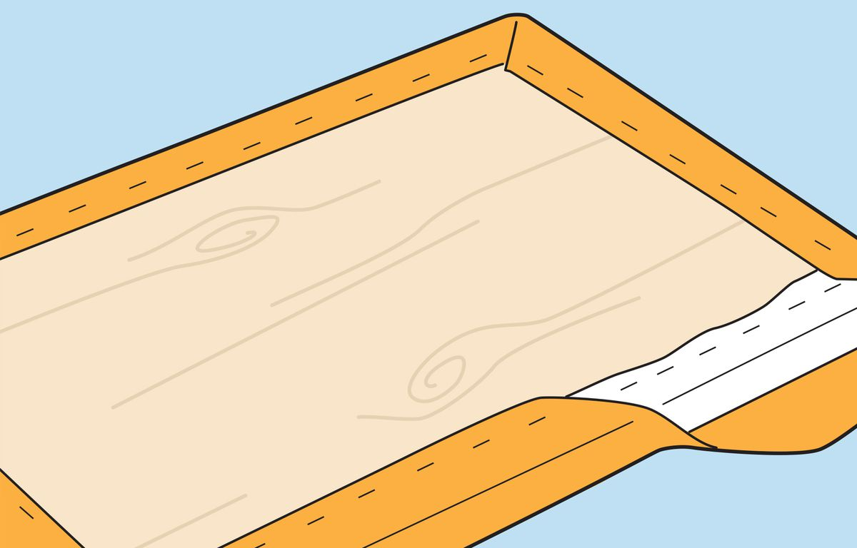 Illustration of fabric being affixed to the headboard.