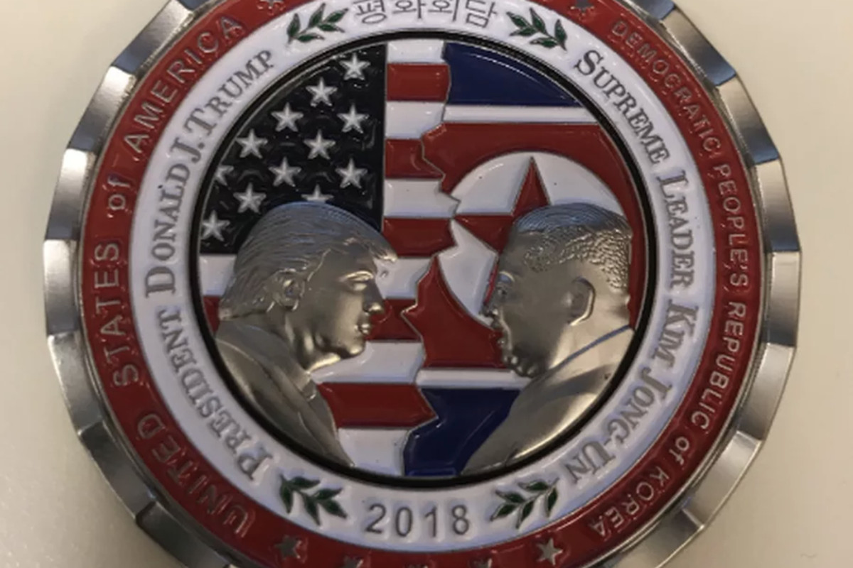 The coin with President Donald Trump and North Korean leader Kim Jong Un.