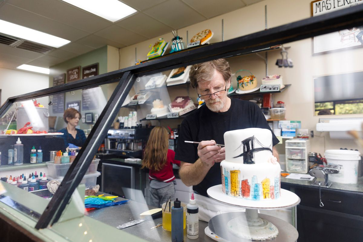 Jack Phillips, owner of Masterpiece Cakeshop in Lakewood, Colo., decorates a cake for a client on Sept. 21, 2017. Phillips refused to bake a cake for a same-sex couple in 2012 and his his case went to the Supreme Court in 2018 following the Colorado Civil