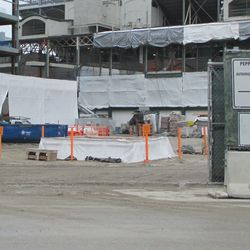 Plaza building area through Clark Street gate. Note new hole in the ground -
