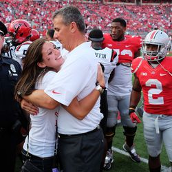 Nicki Meyer hugs her dad.