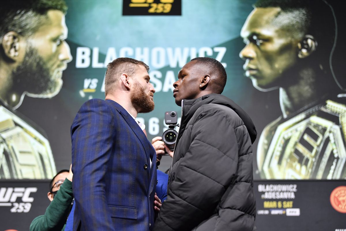 Opponents Jan Blachowicz of Poland and Israel Adesanya of Nigeria face off during the UFC 259 press conference at UFC APEX on March 04, 2021 in Las Vegas, Nevada.