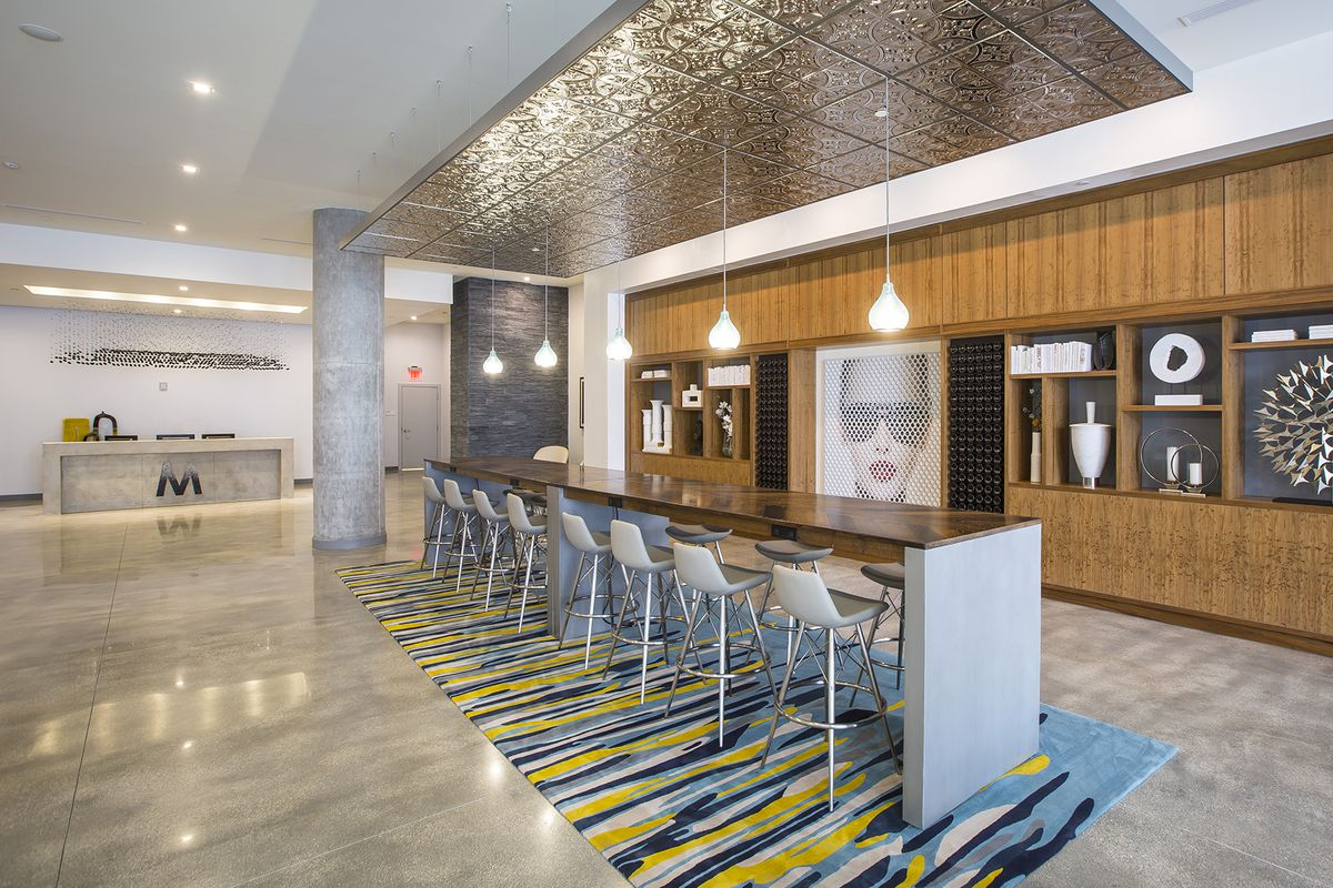 Inside the modernlobby at Midtown Five