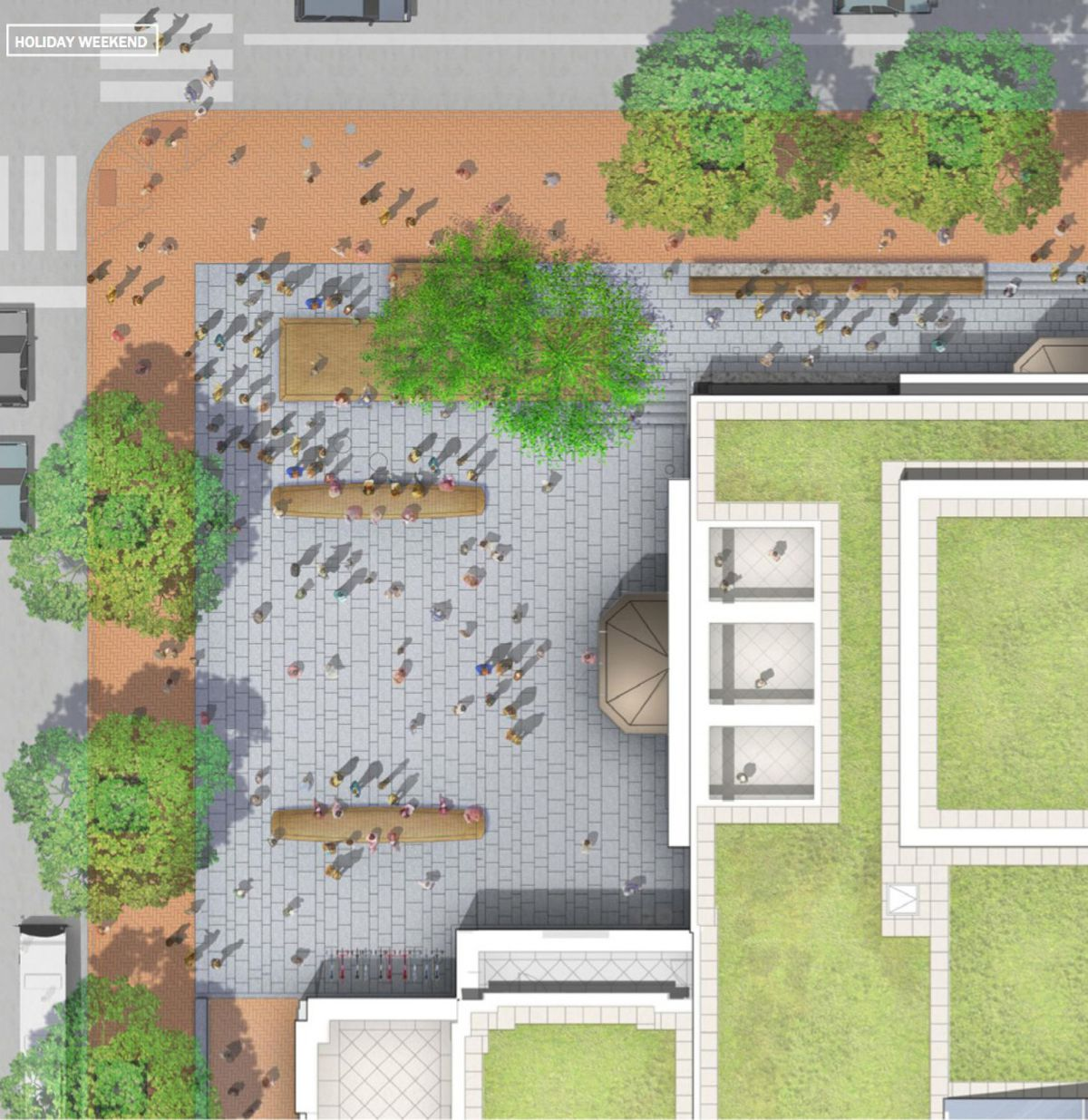 A rendering of the public plaza in front of the Museum of the American Revolution in Old City, Philadelphia.