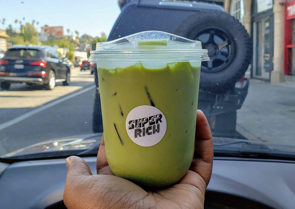 Oat milk matcha from Super Rich in Echo Park.