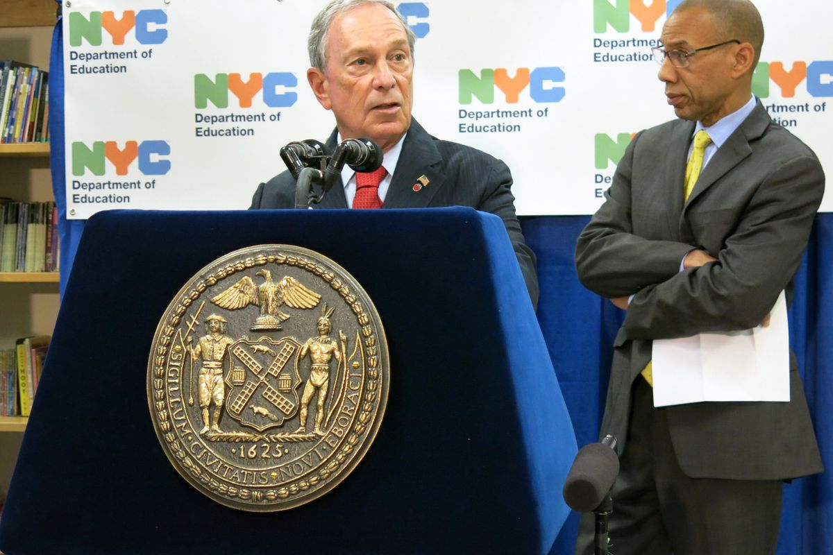 Mayor Michael Bloomberg, accompanied by Schools Chancellor Dennis Walcott, said the city's high-school graduation rate reached a new high in 2013.