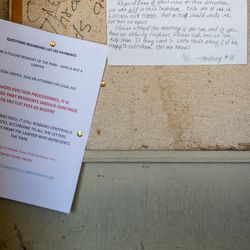 A notice is pinned to a bulletin boardat Centerville Mobile Estates in Centerville on Friday, May 8, 2020. Amid the COVID-19 pandemic, about 45 families living in the mobile home park received a letter on March 23, 2020, that notified them that the property will be used for other purposes. Lindsay Duncan created a Facebook page for the community to help communicate with one another since the health climate prevents gathering.