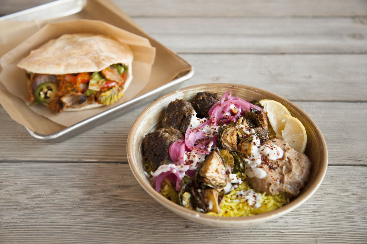 Verts chicken pita and beef meatball rice bowl
