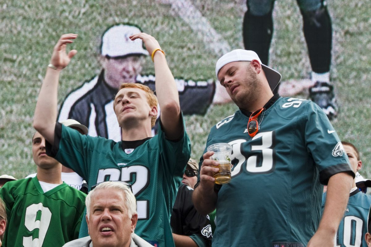 Philadelphia Eagles fans whining about a penalty call during the fourth quarter against the Baltimore Ravens at Lincoln Financial Field.