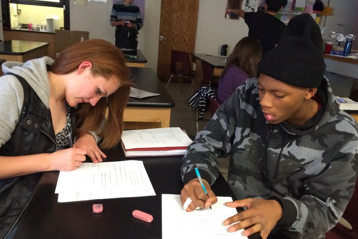 """Students in a """"detracked"""" East High honors biology class work together prepping for a quiz"""