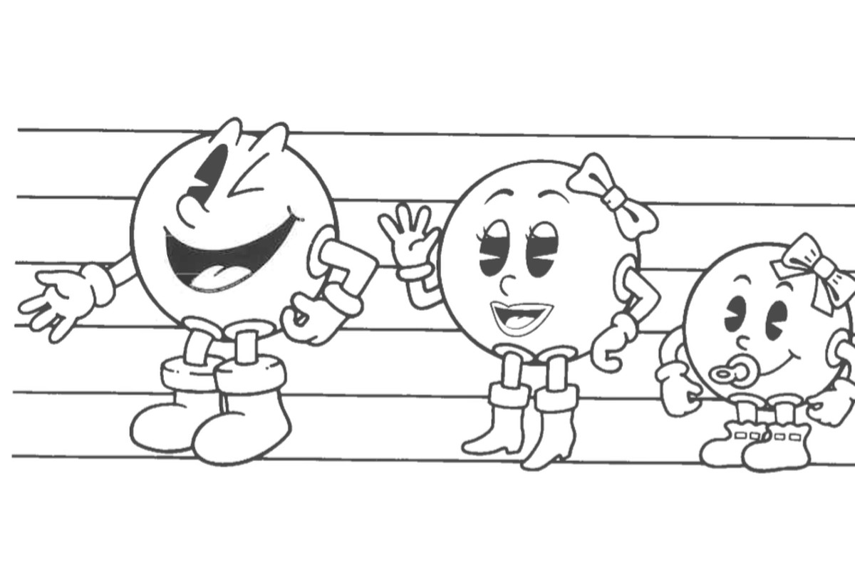 A height chart showing a cartoon lineup of Pac-Man, Ms. Pac-Man, Pac-Baby, Blinky and Sue