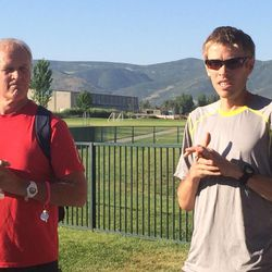 Mickey Hall, left, and two-time Olympic marathoner Ryan Hall, right, talk to local runners about their sports and life philosophies and training routines.